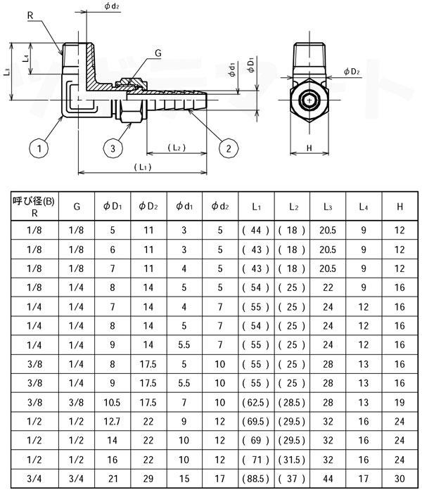 黄銅製L型ホースジョイント オスエルボ(φxR) <GHJL>寸法表