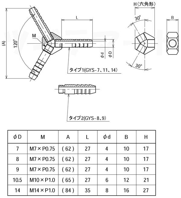 黄銅製Y型ホース継手 ワイ(三方φ) <GYS>寸法表