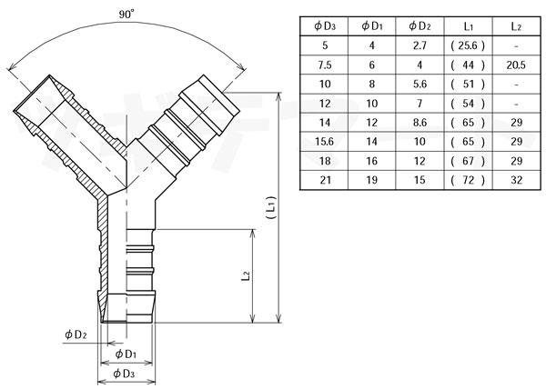 ポリアセタール製Y型ホース継手 YS寸法表