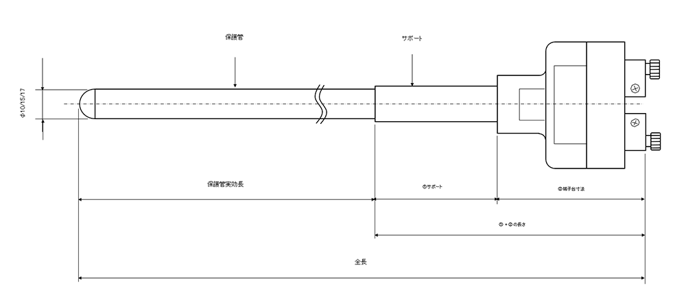 開放端子台付き貴金属R熱電対