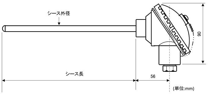 密閉端子箱付きシース熱電対外形