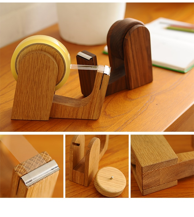 PLAM プラム DEN(デン) テープカッター  テープカッター 木製 おしゃれ テープ台 文房具 日本製 国産 無垢 ギフト プレゼント