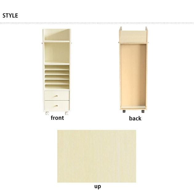 完成品・日本製のこどもと暮らしオリジナル Curio Life キャスター付きランドセルラック スリム ホワイトカラー