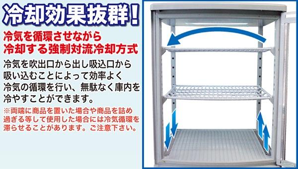 冷却効果抜群!強制対流冷却方式 冷気を循環させながら冷却する強制対流冷却方式 冷気を吹き出し口からだし吸い込み口から吸い込むことによって効率よく冷気の循環を行い、無駄なく庫内を冷やすことができます。