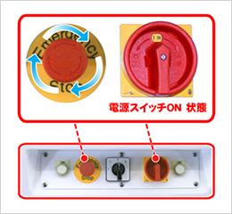 1. 緊急停止スイッチを確認し、電源スイッチをオンにします。