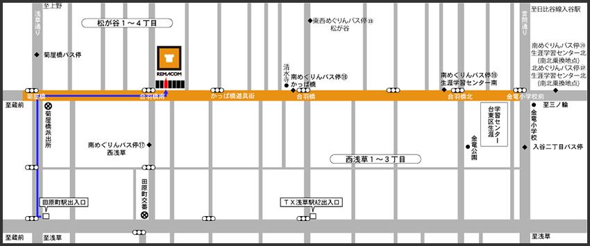 田原町駅からのアクセス