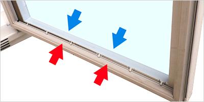 外気温の影響を受けにくいペアガラスを採用