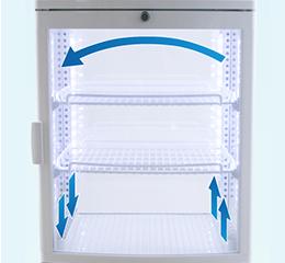 冷気を循環させる強制対流方式採用で冷却効果抜群