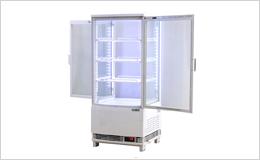 4面ガラス冷蔵ショーケース、LED仕様 84リットルタイプ前後両開き扉