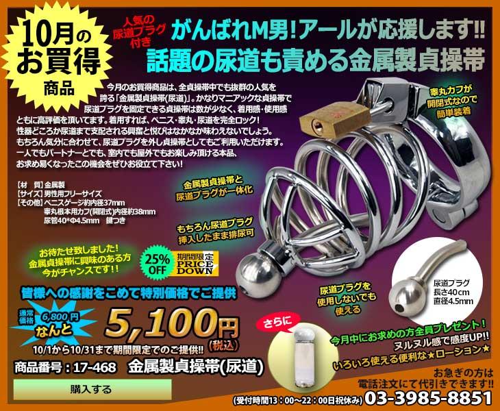 10月のお買得商品・金属製貞操帯(尿道)