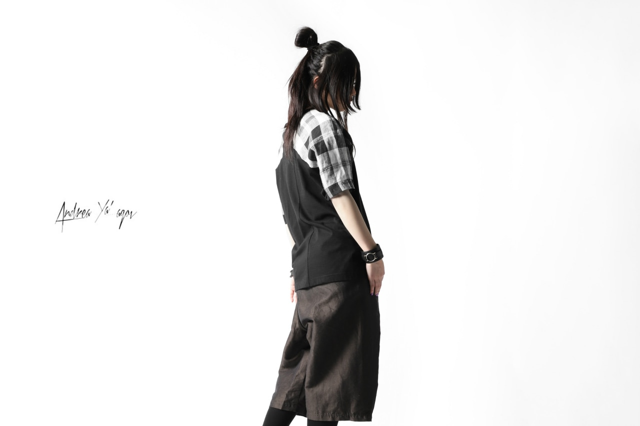 ANDREA YA'AQOV  SHORT SLEEVE TOP / PLAID PATTERN