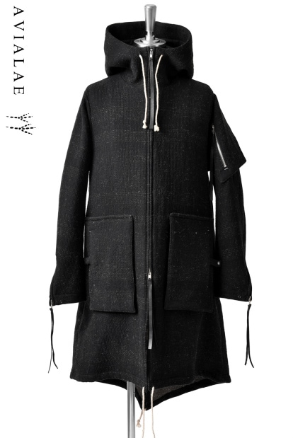 AVIALAE exclusive DISCOVERY HOODED COAT with MULCH POCKET BAG / SASHIKO - DOUBLE FACE