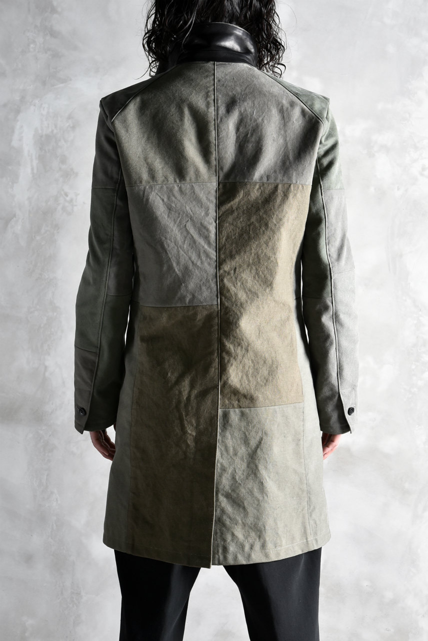 ISAMU KATAYAMA BACKLASH remake line STAIN COLLAR COAT #US ARMY