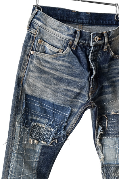 ISAMU KATAYAMA BACKLASH SELVEDGE DENIM TIGHT STRAIGHT PANTS [BORO]