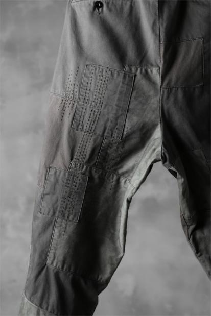 ISAMU KATAYAMA BACKLASH BORO TAPERED PANTS / COTTON CHINO