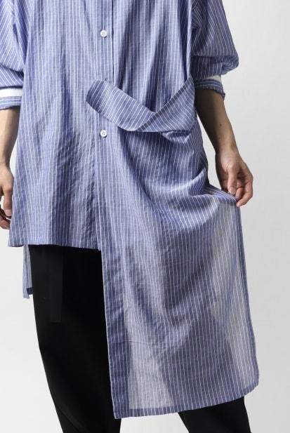 B Yohji Yamamoto B/FLUTTERING SHIRT (T/C Shirring Stripe)