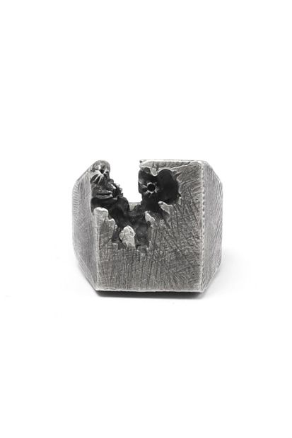 Holzpuppe Barnacle Deficiency Square Mark Silver Ring (BR-518)