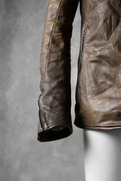 incarnation exclusive HORSE LEATHER SOUTIEN COLLAR ZIP JACKET / OVERLOCKED