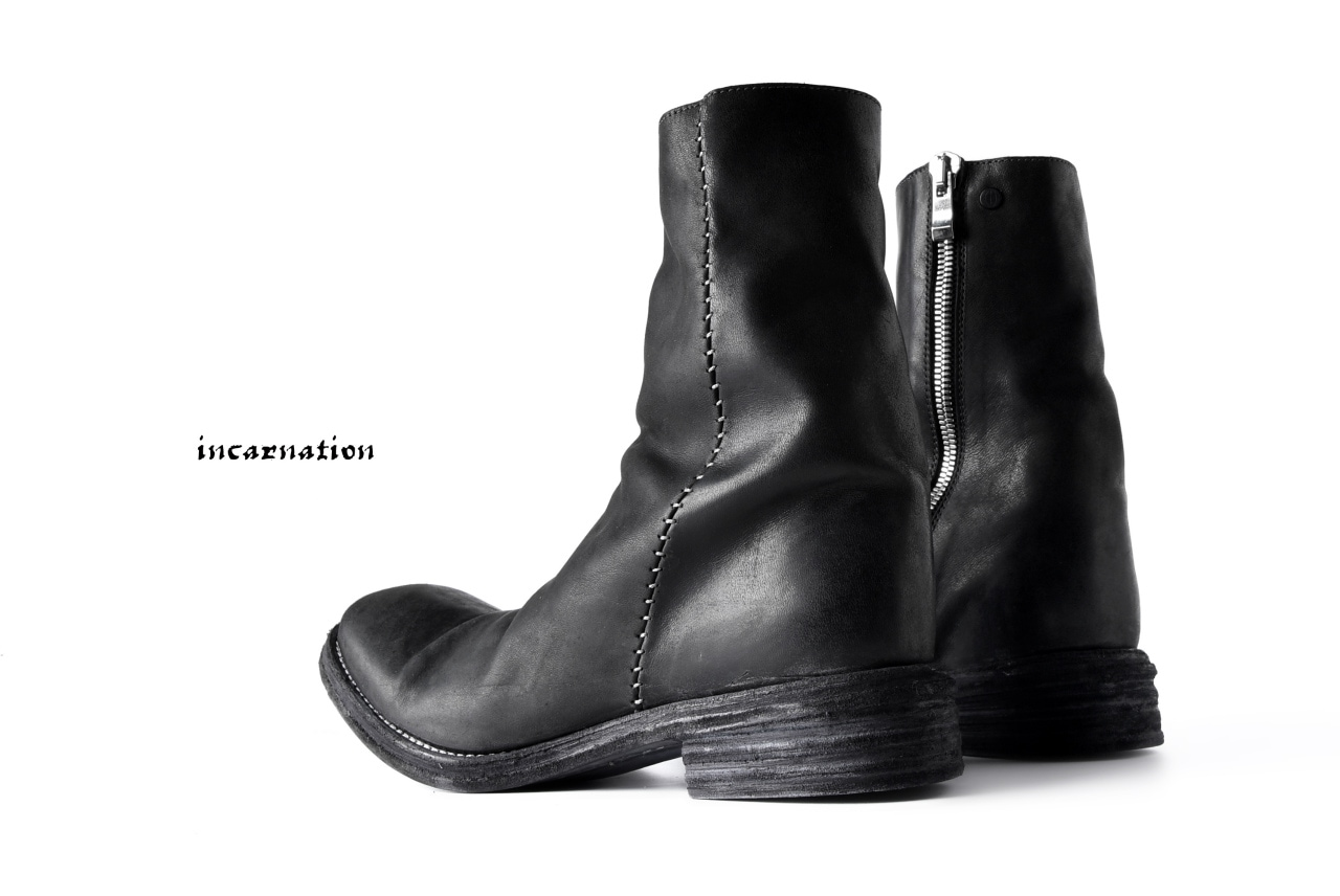incarnation exclusive OILED HORSE LEATHER HAND STITCH SIDE ZIP BOOTS