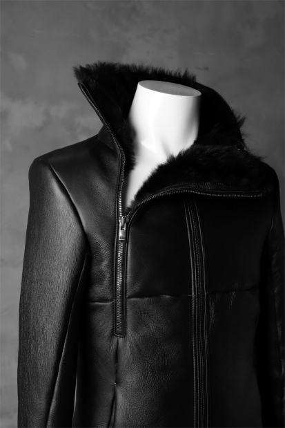 incarnation exclusive SHEEP SHEARLING MOUTON BLOUSON / WIDE NECK & DUAL ZIP