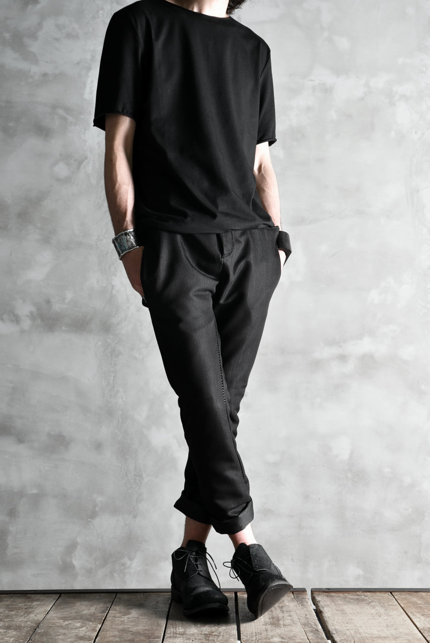 LINEA_F by incarnation LONG DARTS SEMI-DROP SLIM TROUSERS STRIPE STETCH LINED