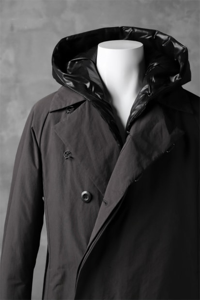 ATTACHMENT by KAZUYUKI KUMAGAI Removal Hoodie Down Coat [PEACH SKIN x CLIMASHIELD]