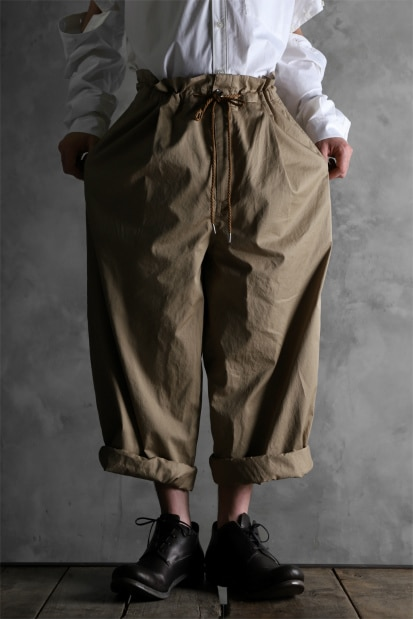 KAZUYUKI KUMAGAI High Waist Easy Wide Trousers [High Density Satin]