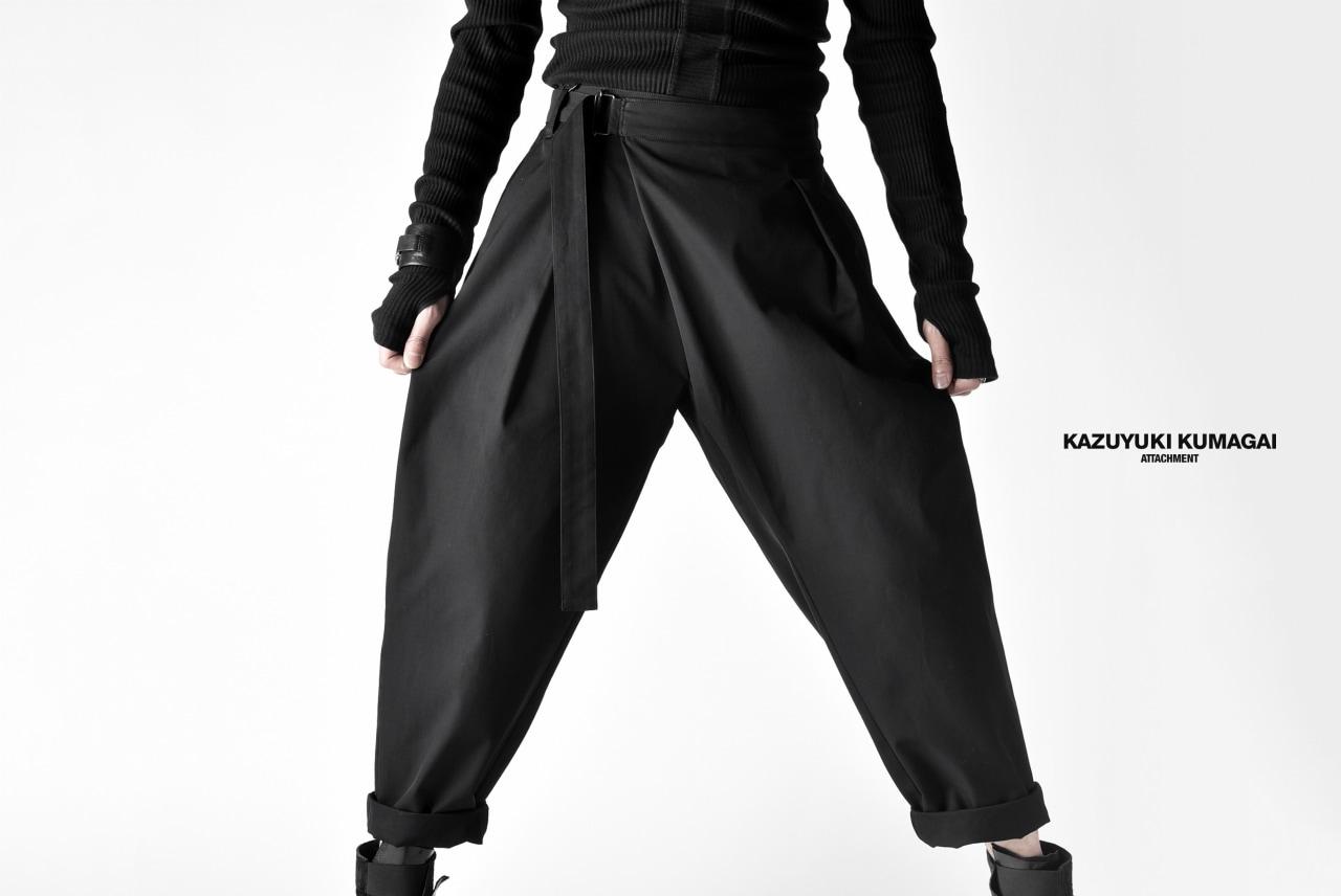 KAZUYUKI KUMAGAI Wrap Front Pants with Waist Belt [80/2 Hard Twist Gabardine]