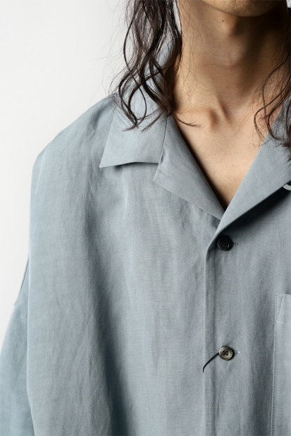 KAZUYUKI KUMAGAI Drop Shoulder Open Collar S/S Shirt [ Rayon Linen Tumbler ]