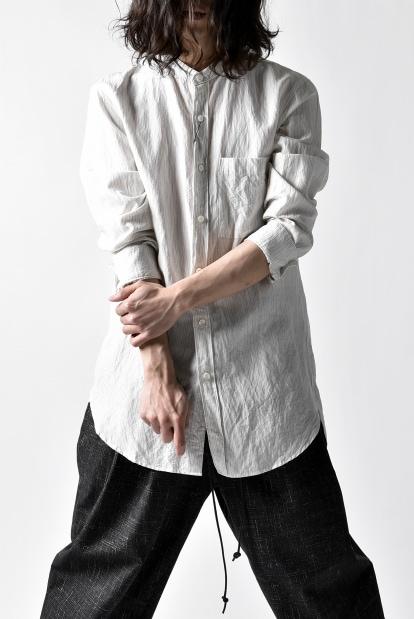 KAZUYUKI KUMAGAI Band Collar Shirt [Pin Striped]