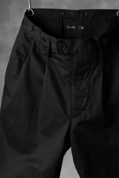 KLASICA GRIOTTE 2 TUCKED WIDE TROUSERS / CHINO CLOTH
