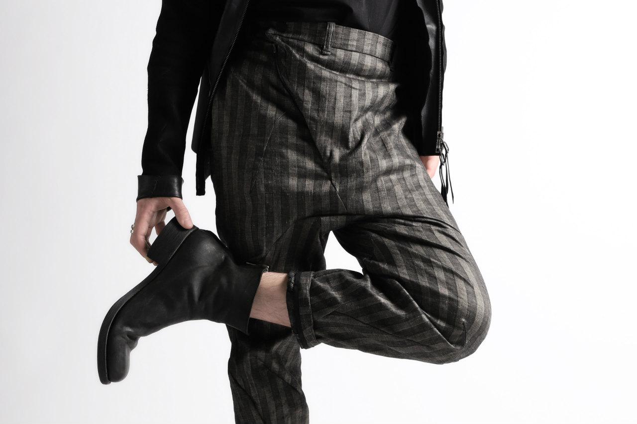 LEON EMANUEL BLANCK DISTORTION HIGH WAIST PANTS / STRIPE STRETCH