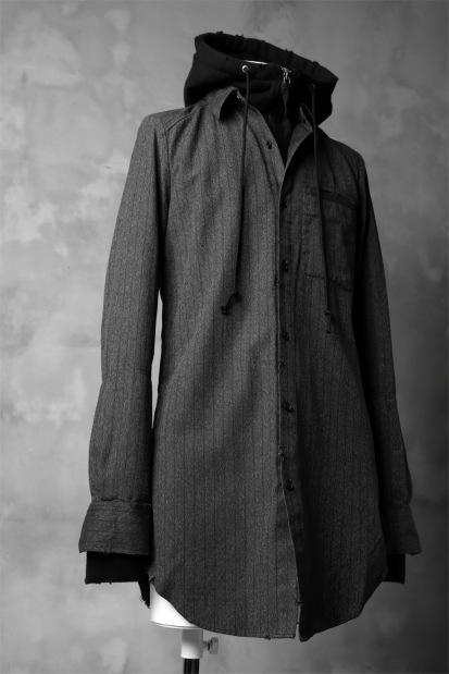 N/07 exclusive COMBINATION SHIRT-JACKET [ Stripe Twill & Urake Jersey ]