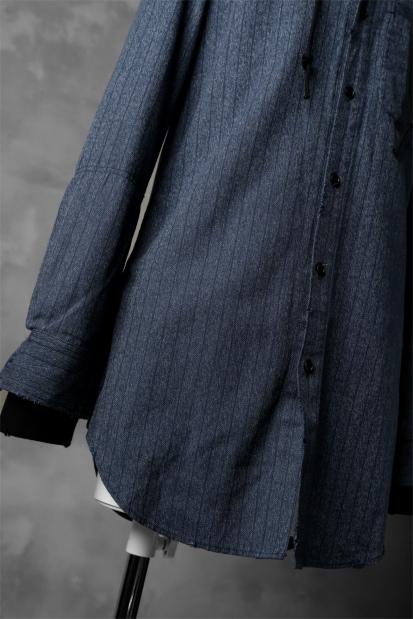 N/07 exclusive COMBINATION SHIRT-JACKET [ Stripe Twill & Urake Jersey ]