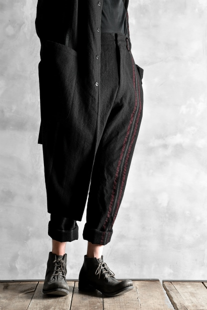 nude:mm MULTI STRIPE WOOL SLIM TROUSERS