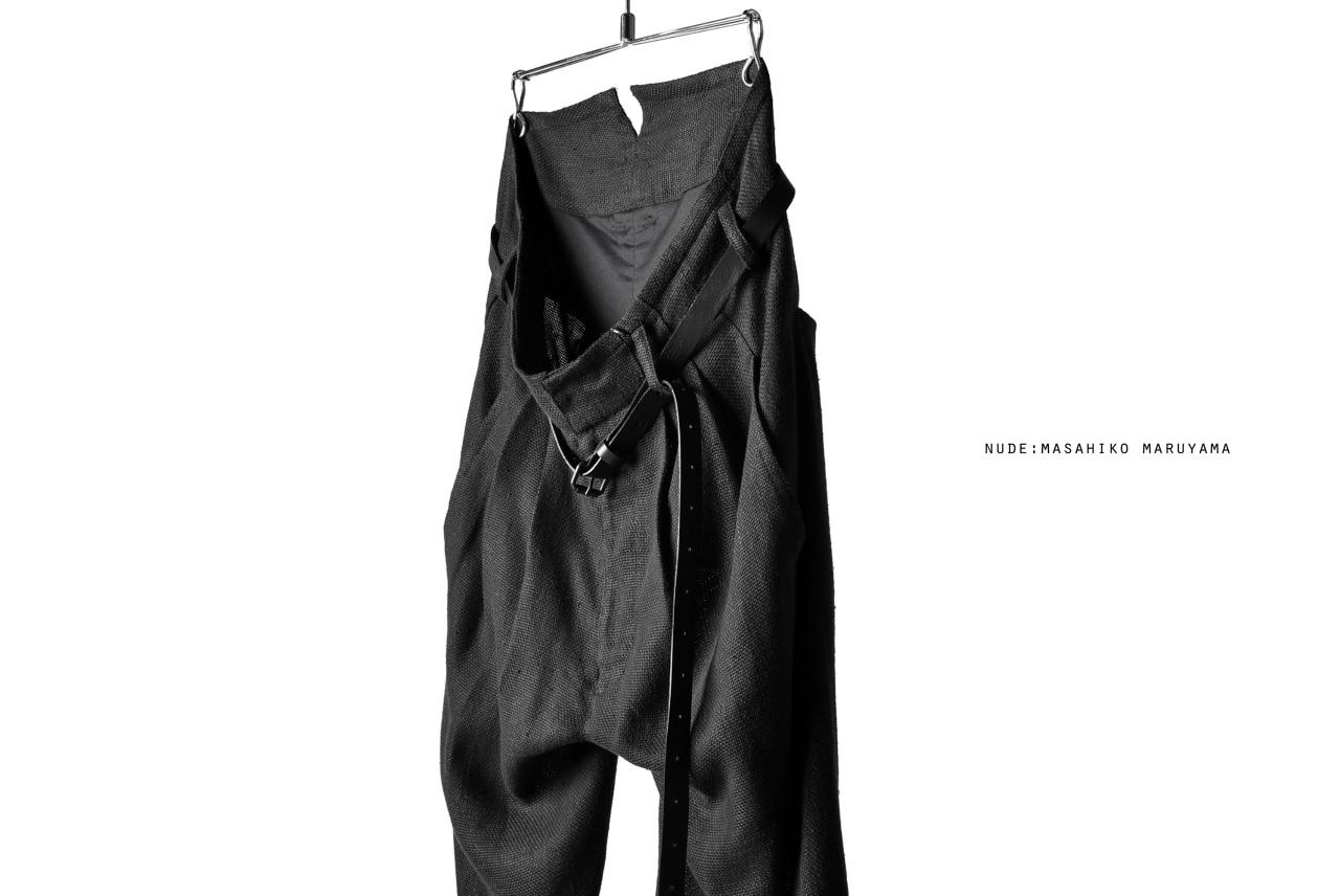nude:masahiko maruyama DOUBLE TUCK 9/10 TROUSERS with LEATHER BELT