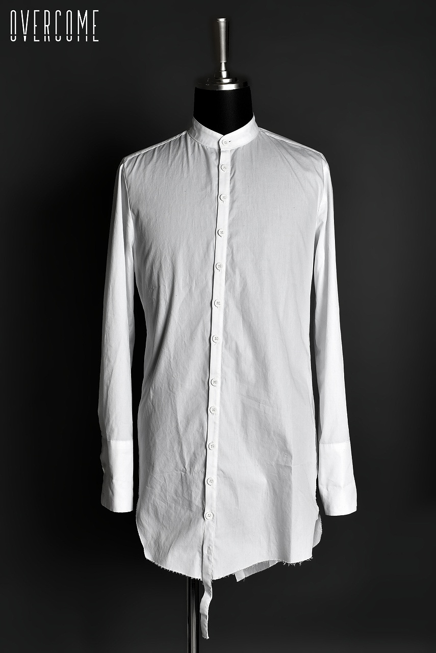 OVERCOME LONG ASYMMETRIC STAND COLLAR SHIRT BIANCO