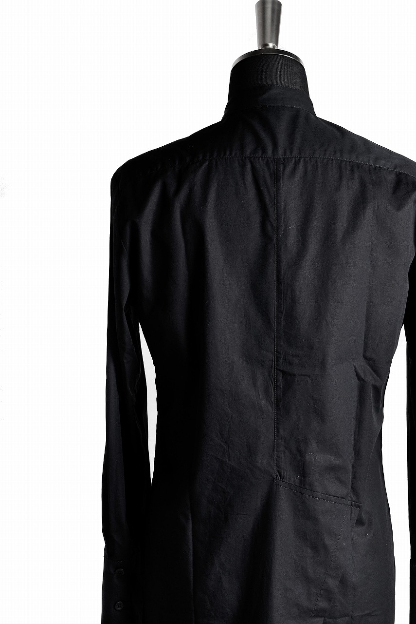 OVERCOME LONG ASYMMETRIC STAND COLLAR SHIRT NERO