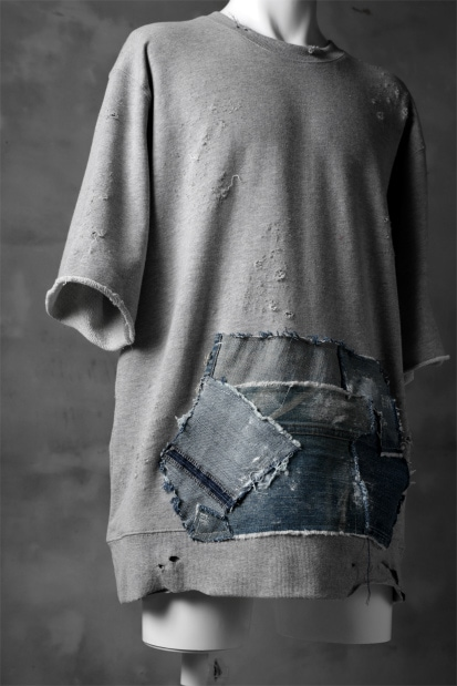 RESURRECTION HANDMADE remake sweat shirt H/S (with vintage denim pocket) GY-C