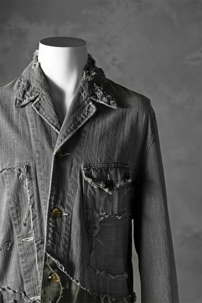 RESURRECTION HANDMADE combination fabrics denim coverall jacket