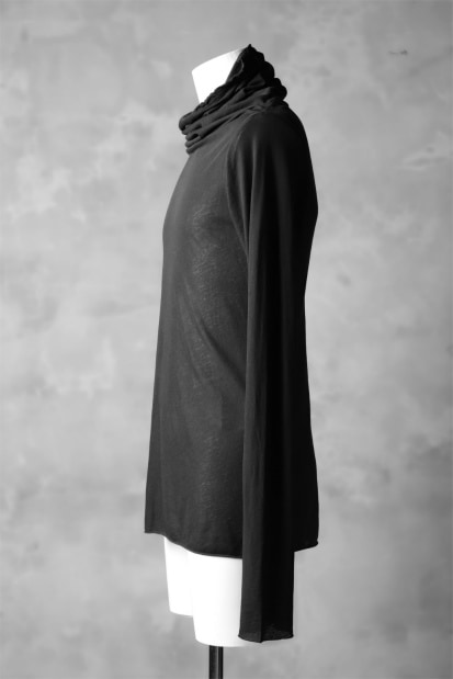 RUNDHOLZ DIP DRAPE TURTLE NECK LONG SLEEVE TEE / carbon dyed