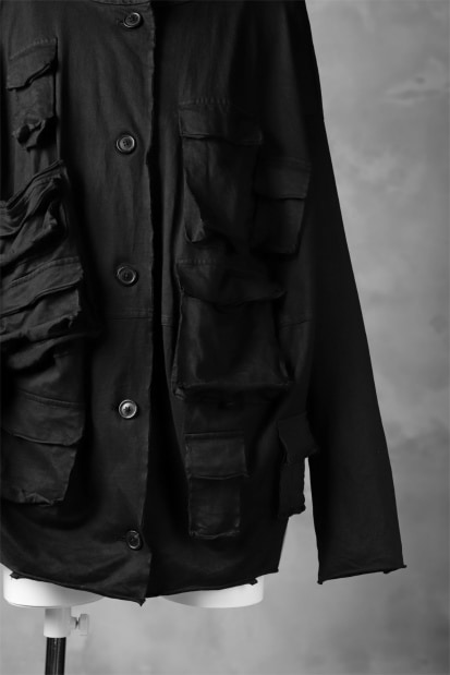 RUNDHOLZ DIP MILITARY POCKETS BIG-SIZE BLOUSON / black dyed