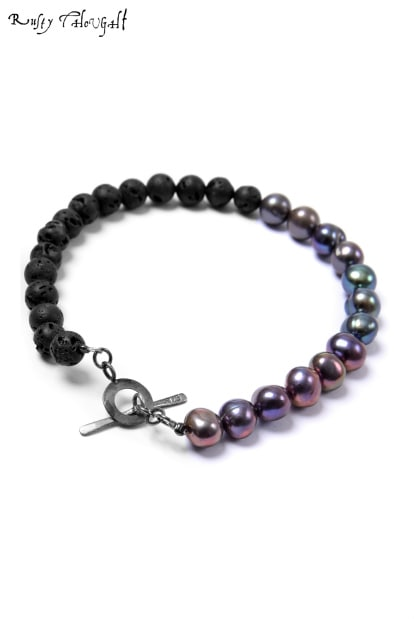 Rusty Thought PEARL & LAVA STONE BLACELET