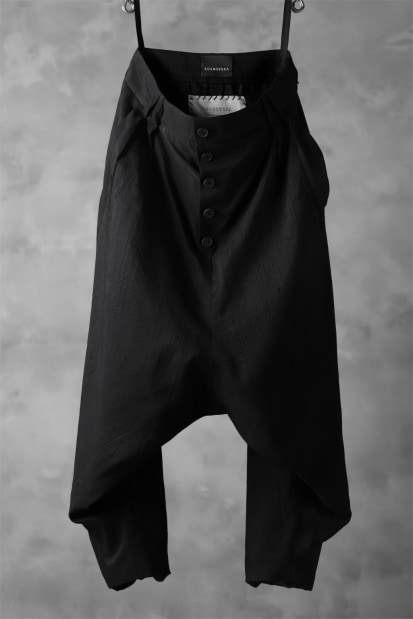SOSNOVSKA exclusive NARROW CLOWN PANTS (SCRATCHED BLACK SILK)