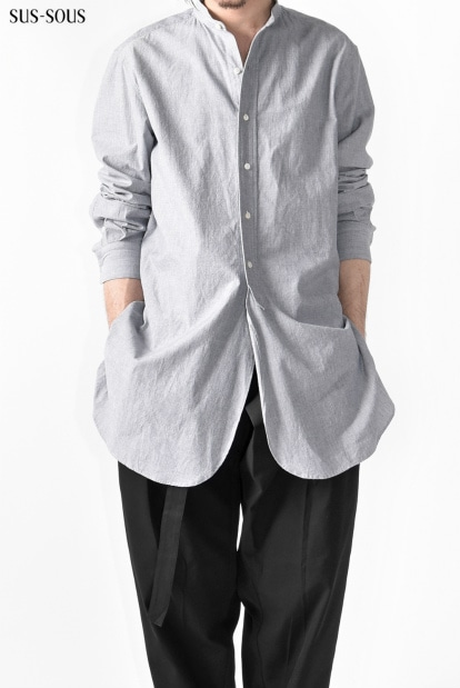 sus-sous officer indigo chambry front fly shirt