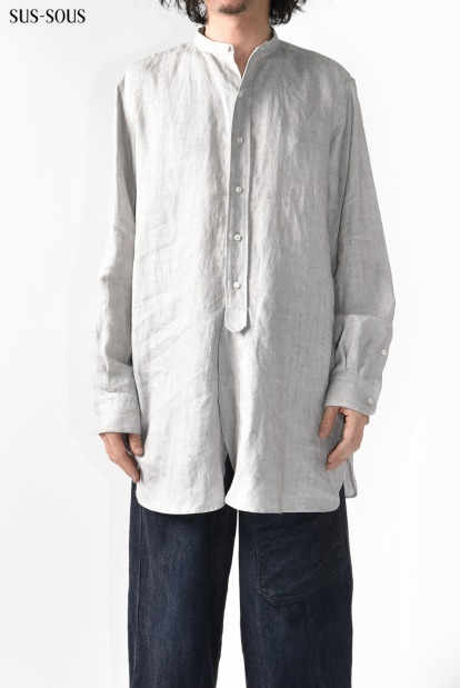 sus-sous officer sumi dyed front fly shirt