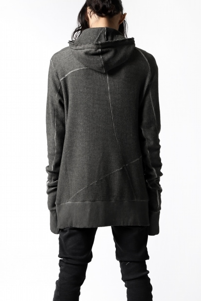 thom/krom WAFFLE HOODIE PULLOVER PARKA / OILED DYE