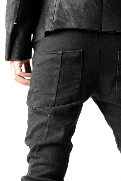thom/krom OVERLOCKED BIAS FRONT SKINNY / STRETCH BLACK DENIM