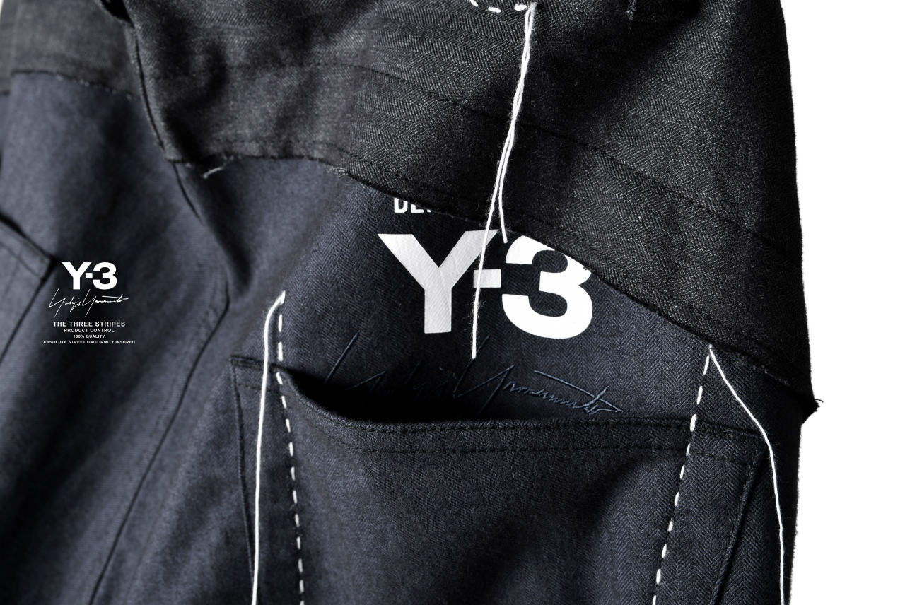 Y-3 Yohji Yamamoto  HERRINGBONE WIDE PANTS / SASHIKO STITCH