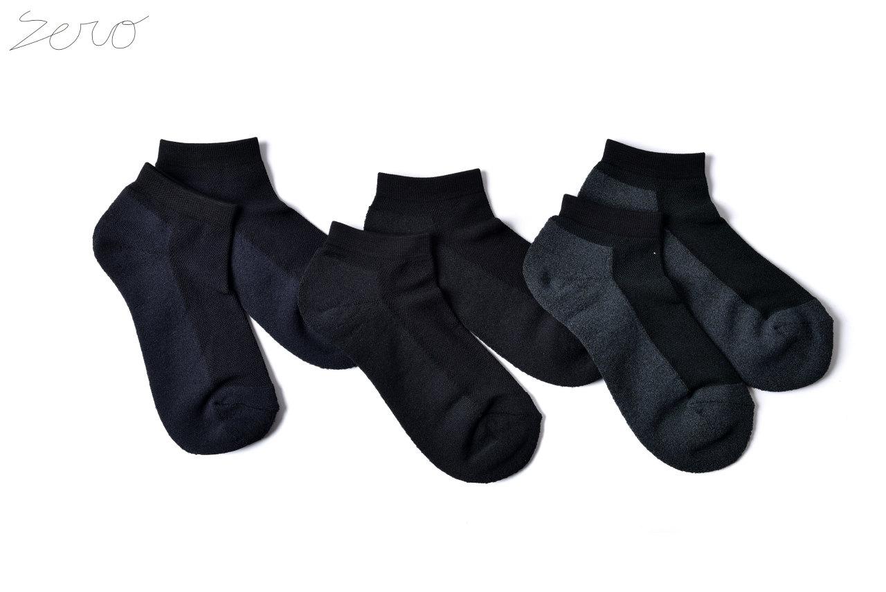 ZERO Silk&Japanesepaper Deodorize Sneaker Socks - Black